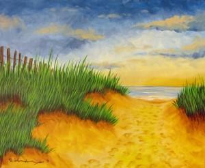 Beach Pathway 22″x20″ Acrylic Painting – $600