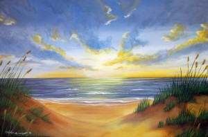 Beach Sunset 24″x36″ Acrylic Painting – $1,150