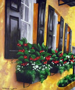 Downtown Bloom 18″x24″ Acrylic Painting – $600