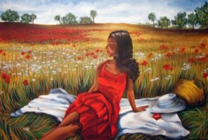 Lady in Red 22″x28″ Canvas Copy – $275