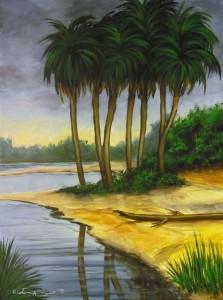 Palm Island 18″x24″ Acrylic Painting – $550