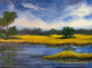 Stormy Marsh 24″x18″ Acrylic Painting – $550