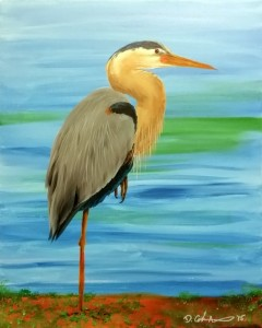 Great Blue Heron 20″x16″ Acrylic Painting – $400