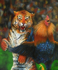 Cat and a Cock 30″x24″ Acrylic Painting – $1,250